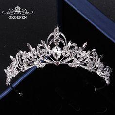 Brilliant Rhinestone Crystal Wedding Crowns and Tiaras Women Jewelry 2018 Silver Headbands Headpieces Prom Bridal Accessories