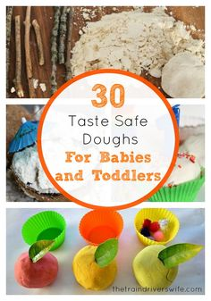 30 Taste Safe Doughs for Babies and Toddlers. As much as we love sensory play, play doughs are an area we haven't really explored a great deal. This is mainly due to Buddy's determination to eat everything in sight! Traditional home made play dough has a reasonably high salt content, so I was really eager to tap into the fantastic minds of the Kid Blogger Network. I asked them to share their ideas for Taste Safe Dough for Babies and Toddlers and this is what they came up with!