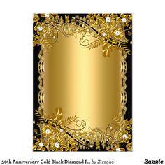 Wedding Invitation Background, Flower Invitation, 50th Wedding Anniversary Invitations, 50th Anniversary, Pink Black Weddings, Gold And Black Background, Certificate Design, Create Your Own Invitations, Flower Frame