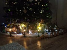Christmas village under tree
