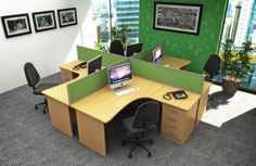 desk set up - open space with dividers Office Furniture, Office Decor, Office Ideas, Office Workstations, Office Environment, Desk Set, Discovery, Corner Desk, Space