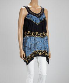 Look at this #zulilyfind! Black & Gold Embroidered Yoke Sleeveless Tunic #zulilyfinds