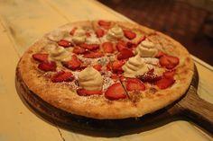 Strawberry and cream dessert pizza, Lost in a Forest, Uraidla, Adelaide Hills, South Australia