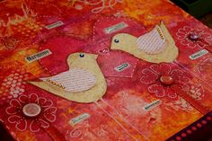 Love Birds Original Mixed Media Painting by by CreativelyHappyOne, $169.00