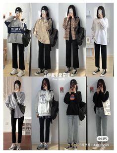 Korean Girl Fashion, Korean Fashion Trends, Korean Street Fashion, Ulzzang Fashion, Korea Fashion, Seoul Fashion, Kpop Fashion Outfits, Fashion Mode, Tomboy Fashion