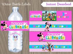 Minnie Mouse Water Bottle Labels Minnie Mouse Mickey by CutePixels