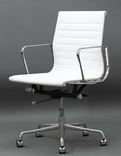 white modern office desk. Classic Mid-Back Leather Office Chair: This Modern Classic Is A  Reproduction Of The White Office Desk E