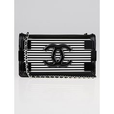 Pre-owned Chanel Black/White Striped Plexiglas and Leather East/West... (31.775 NOK) ❤ liked on Polyvore featuring bags, handbags, genuine leather handbags, leather flap handbags, quilted leather purse, black and white handbags and black and white leather purse