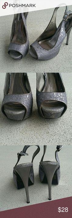 "Listing Qupid slingback pumps Charcoal grey glitter slingback open toe pumps. Has minor wear in spots but not noticeable when wearing. About 5"" heel 1"" platform. Qupid Shoes Heels"