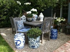 Blue and White Design Inspirations! Chinoiserie Chic: Blue and White Chinese Planters Outdoor Rooms, Outdoor Furniture, Outdoor Decor, Outdoor Living, Outdoor Planters, Garden Furniture, Weathered Furniture, Outdoor Patios, Plywood Furniture
