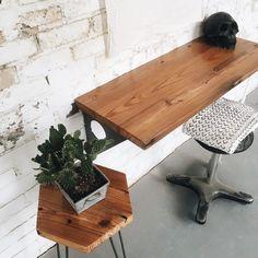 Industrial Modern Reclaimed Wall Mount Slim Writing Desk | Table | Bar