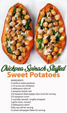 Chickpea Spinach Stuffed Sweet Potatoes Recipe - Perri LowreyYou can find Sweet potato recipes and more on our website. Veggie Recipes, Whole Food Recipes, Cooking Recipes, Recipes Dinner, Vegetarian Potato Recipes, Crockpot Recipes, Pizza Recipes, Roast Recipes, Sausage Recipes