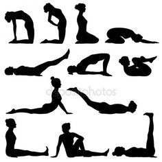 """Buy the royalty-free Stock vector """"Silhouettes of woman doing different yoga poses"""" online ✓ All rights included ✓ High resolution vector file for print. Woman Silhouette, Silhouette Vector, Silhouette Cameo, Human Figure Sketches, Figure Sketching, Ballet Poses, Yoga Poses, Stick Figure Tattoo, Yoga Stick Figures"""