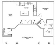 First Floor Plan of Cottage   Craftsman   House Plan 59313