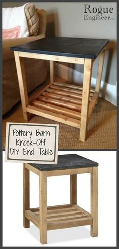 DIY End Table {a Pottery Barn Knock-Off} | FREE Project Plan by @Jenn L Romo Engineer - DIY Furniture Plans