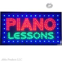 "Large 24x13"" Piano Lessons Keyboard Music Class School LED Open Store Sign neon…"