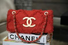 Auth Limited Edition CHANEL 2009 Red Fringe Tweed Flap Bag. Classic & Stunning.