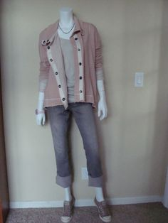 CAbi Spring '12 Weekend Jacket and Gathered Tee with vintage CAbi Lou Lou Jeans in grey and Converse sneakers.  Off to baseball tryouts!