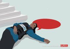 吹き出し型の血痕が示す「殺された真実」。表現の自由を訴えるジャーナリスト団体のプリント広告 | AdGang