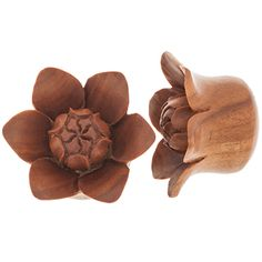 "Gorgeous Bali Blooms shown here in 1 inch!    PRODUCT: Pair of Sabo Wood Bali Blooms - PWS70, BRAND: Urban Star Organics, GAUGES: 2g through 1"", PRICES: $23.75 - $49.25, BUY: http://www.steelnavel.com/product.asp?ID=6250"