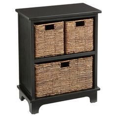 Who says storage has to be a stack of starkness? Our handsome chestnut brown wood cabinet features an upstairs/downstairs arrangement of 3 hand-woven baskets for organizing office supplies, craft materials, toys and, say, clutter. Office Supply Organization, Home Office Storage, Bench With Storage, Toy Storage, Drawer Storage, Bath Storage, Storage Room, Storage Baskets, Brown Wood