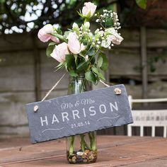 Personalised Hanging Slate Sign - Mr and Mrs. This wonderful slate sign can be hung up anywhere to represent the love between a newly-wed couple or a couple celebrating an anniversary. Have it engraved with their newly-joined surname and a significant date. Available at gettingpersonal.co.uk - FAST UK DELIVERY