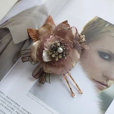110mm elegant fabric flower corsage brooch with beads sequins Bronze Brown