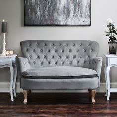 Roberta Two Seater Sofa - Light Grey Velvet