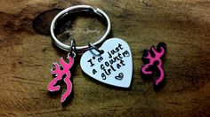 Hand Stamped Keychain with Deer Charm, Country Girl Accessories, Lady Hunters,Gift for Her, Pink Deer Keychain, Just a country girl at heart by JazzieJsJewelry on Etsy