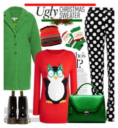 """""""Ugly Christmas Sweater"""" by spenderellastyle ❤ liked on Polyvore featuring P.A.R.O.S.H., Boutique Moschino, Mixit, Swix, Dr. Martens, Mark Cross and uglychristmassweater"""