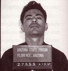 """Ernesto Miranda - a laborer whose conviction on kidnapping, rape and armed robbery charges based on his confession under police interrogation was set aside in the landmark U.S. Supreme Court case (Miranda v. Arizona), which ruled that criminal suspects must be informed of their right against self-incrimination and their right to consult with an attorney before being questioned by police. This warning is known as the """"Miranda warning""""."""