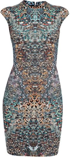 Alexander Mcqueen England Feather Print Dress