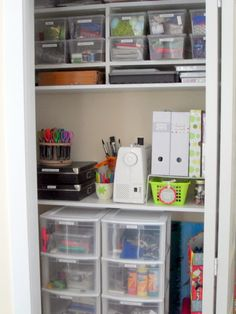 Craft closet organization - clear containers & plastic drawers
