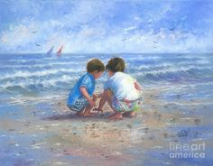 Brother And Sister Print featuring the painting Finding Sea Shells Brother And Sister by Vickie Wade