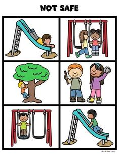 Recess Playground Safety Sorting Cards for Kindergarten & First Grade - Dehily Playground Rules, Playground Safety, Preschool Playground, Recess Rules, Safety Rules For Kids, Behavior Cards, Pe Activities, School Safety, Science Experiments Kids