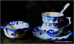Top quality Gzhel, Russian traditional highest grade porcelain tea set: cup, saucer, jam bowl and ceramic spoon