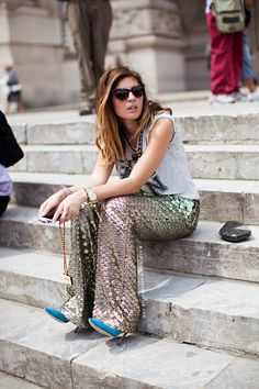 awesome pants. #SofiaGuellaty copping a squat while looking incredibly chic in Paris.