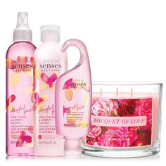 Pamper Mom with the luscious scent of pink daisy and fragrant lemon and fill the air with a bouquet of love. A $43.99 value this set includes:Avon Senses Pink Daisy & Lemon Body Spray 8.4 fl. oz.Avon Senses Pink Daisy & Sicilian Lemon Shower Gel 5 fl. oz.Avon Senses Playful Daisy & Lemon Body Lotion 8.4 fl. oz.Bouquet of Love Candle 3-wick 11 oz.