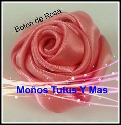 Paso a Paso BOTON DE ROSA Satinada pap RIBBON ROSE BUD Tutorial DIY Cint...