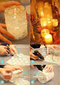 Un frasco de vidrio, forrarlo con encaje… make for reception Deco pour lampion DIY wedding centerpieces with white lace and candles Handmade handcrafted wedding details, Cute and creative DIY ideas, Whimsical wedding decorations, Wedding reception idea Mason Jar Crafts, Mason Jars, Deco Champetre, Diy Candles, Lace Candles, Bottle Candles, Candle Making, Wedding Centerpieces, Shabby Chic Wedding Decor