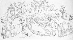 Прориси / Фотоальбомы / Слово - изографам Orthodox Icons, Sacred Art, Religious Art, Line Drawing, Ikon, Outline, Sketches, Black And White, Drawings
