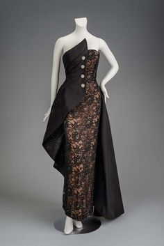 "Woman's strapless dress of black lace, overlaid with a black floating half-bodice, secured with four rhinestone encrusted ""buttons"" at center front. Batik Dress, Silk Dress, Dress Up, Vintage Dresses, Vintage Outfits, Vintage Fashion, Gala Dresses, Evening Dresses, 1980s Dresses"