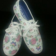 White Floral Keds Pink and blue flowers make for a spring looking sneaker.  Pre-owned. keds Shoes Sneakers