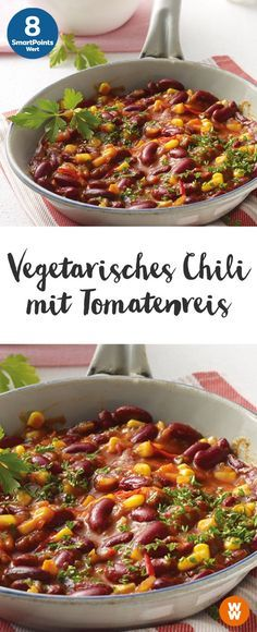 Vegetarisches Chili mit Tomatenreis Vegetarian chili with tomato rice 4 servings, 8 SmartPoints / serving, Weight Watchers, vegetarian, ready in 40 min. Rice Recipes, Veggie Recipes, Vegetarian Recipes, Healthy Recipes, Veggie Meals, Tomato Rice, Tomato Tomato, Clean Eating, Healthy Eating