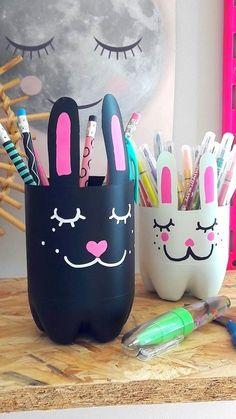 Préparez la rentrée scolaire avec les kids en leur proposant de réaliser ces jolis petits pots à crayons avec de vieilles bouteilles en plastique...