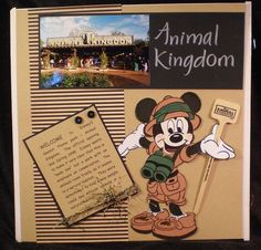 Great front page for Animal Kingdom Disney Scrapbook layout. Use for my park entrance page and my journaling.