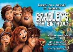 Personalized The Croods Birthday Party Invitations-  DIY Printing Available