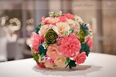 Wedding Bouquet Made of Assorted Wooden Flowers | AccentsandPetals - Wedding on ArtFire