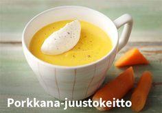 Porkkana-juustokeitto  Resepti: Valio #kauppahalli24 #ruoka #resepti #porkkanakeitto
