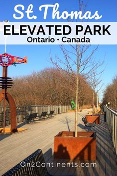 St. Thomas, ON has a new attraction - the Elevated Park. It was created on the abandoned Kettle Creek railway bridge giving a second life to the old bridge ruin, and offering locals and visitors a nice walking trail with panoramic views. #cityofstthomas #ontario #canada #elevatedpark #hiking #trails #stthomasontario #attraction #video #swontario #ldnont #ldngem #londonontario #familytravel #familytrip St Thomas, Ontario, Saints, Canada, Park, Parks
